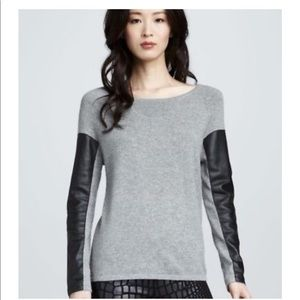 AIKO Gray Cashmere blend leather sleeve sweater